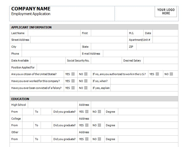 Application for Employment Template Free