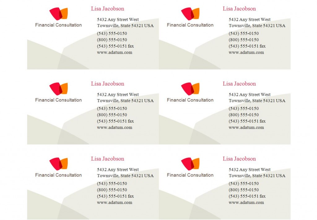 Business card labels 8371 dawaydabrowa business card labels 8371 accmission Gallery