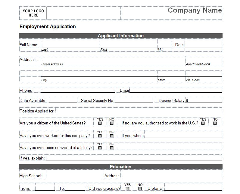 Basic Job Application Form Template