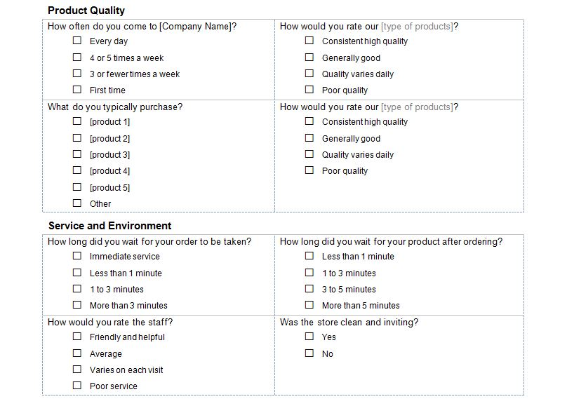 Customer service survey customer service survey questions for New customer questionnaire template