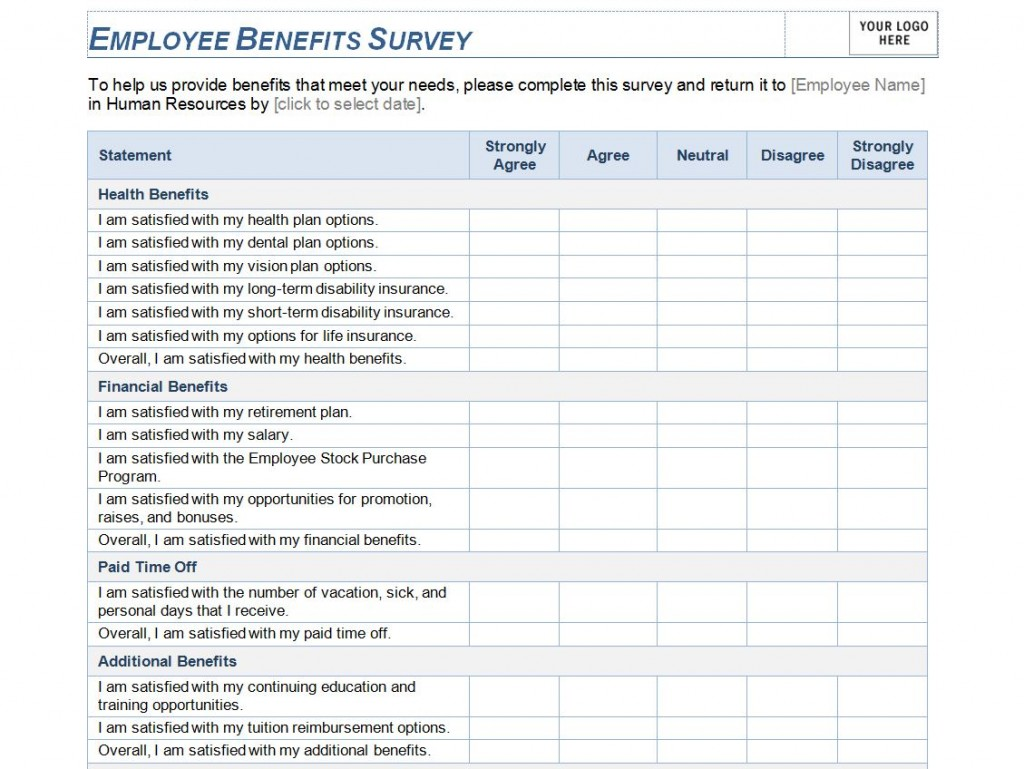 Employee benefits survey template employee benefits for Employee satisfaction survey template word