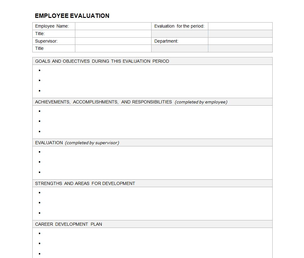 performance management forms templates - employee evaluation form employee performance evaluation