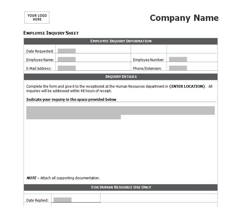 Free Employee Inquiry Form