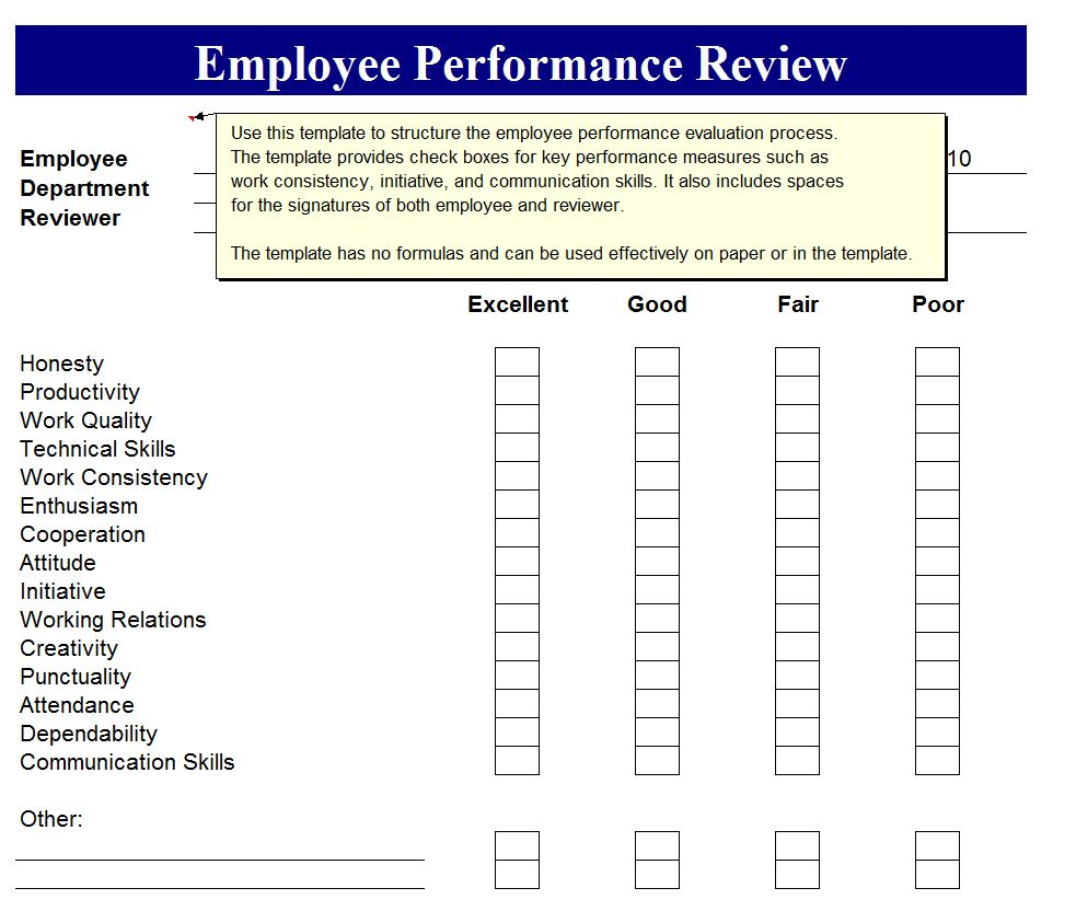 Employee performance review employee perormance review form for Yearly employee review template