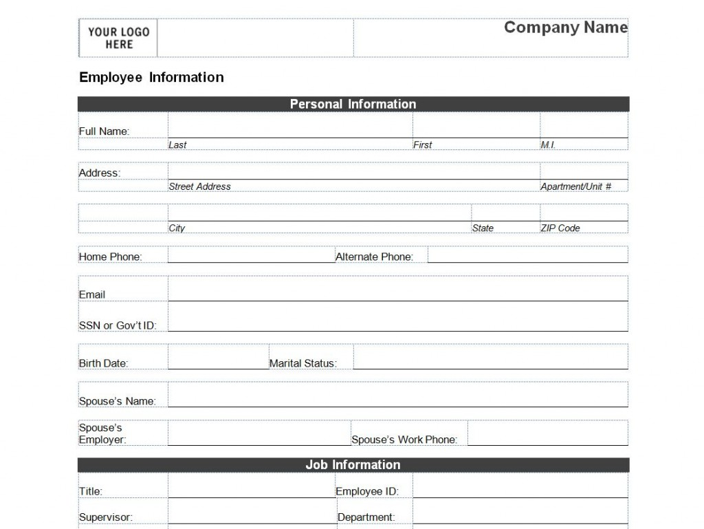 Employee Personal Information Form Template – Employee Contact Information Template