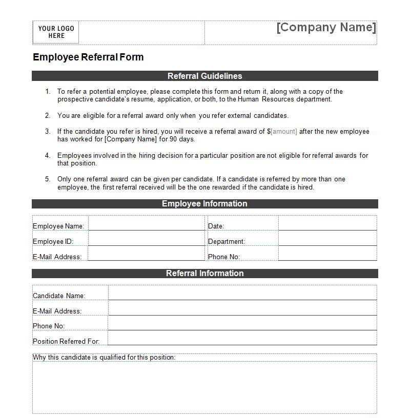 Employee referral form employee referral form template for Referral document template
