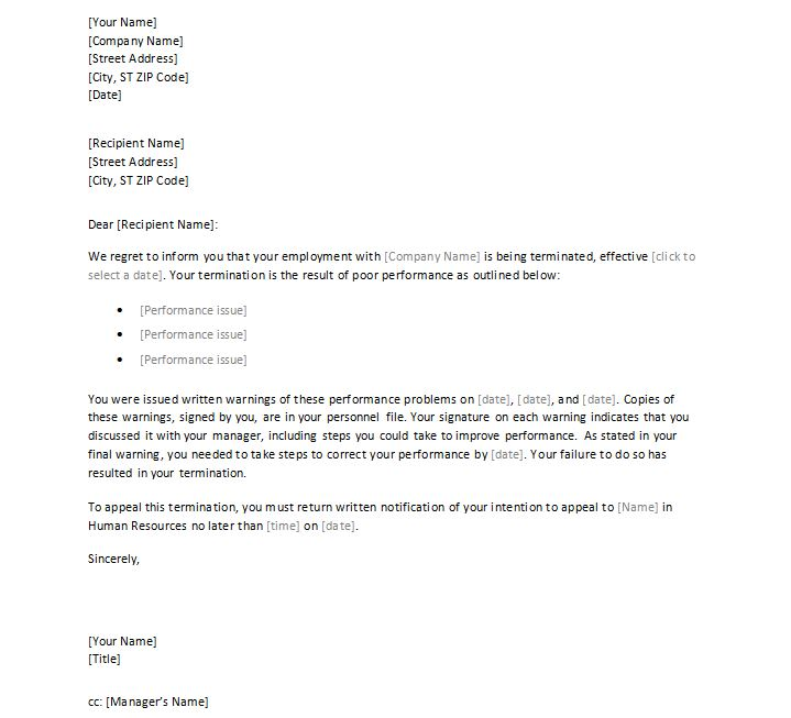 sample employment termination letter – Separation of Employment Letter