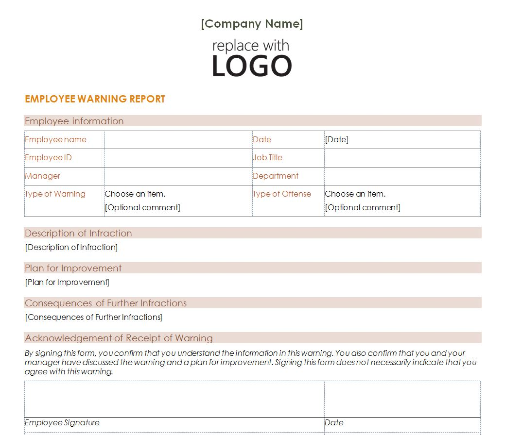 Employees Warning Letter Template from exceltemplates.net
