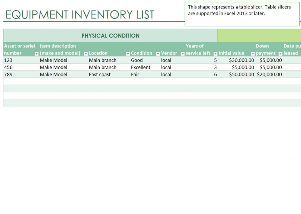 Equipment Inventory List – Excel Inventory List Template