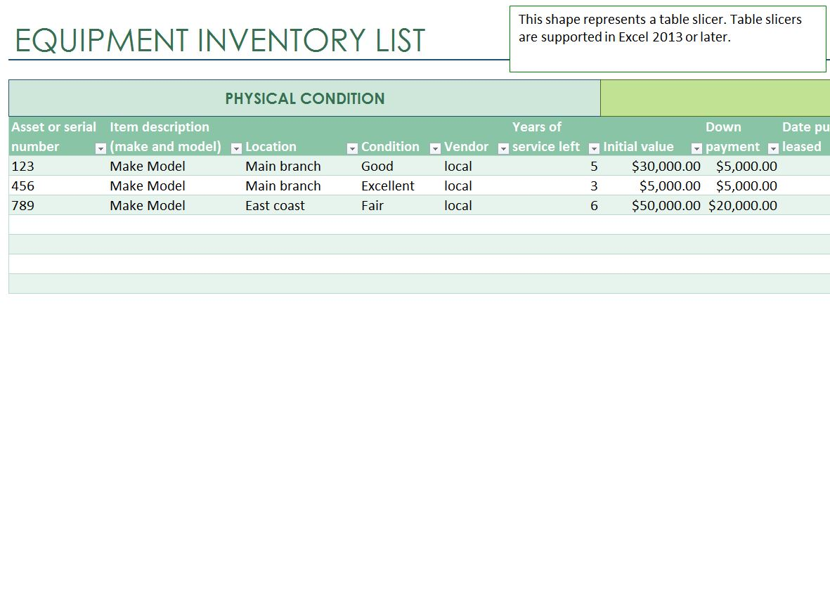 Equipment Inventory List Equipment Inventory List Template