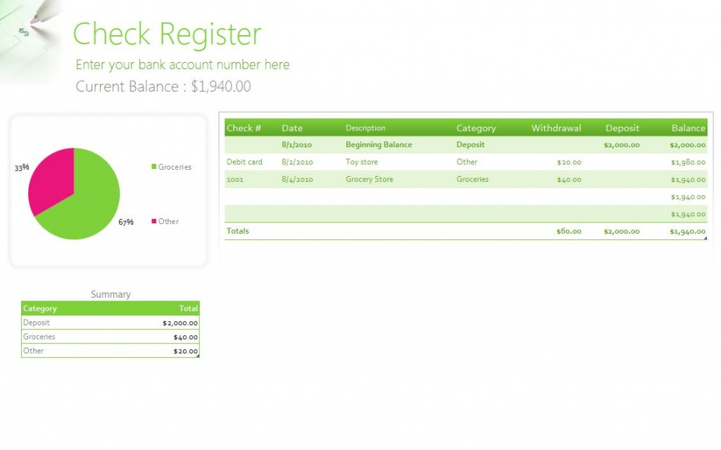 Free Check Register Template  Free Check Register Template Excel