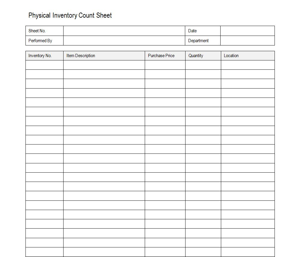 Inventory Count Sheet Physical Inventory Count Sheet