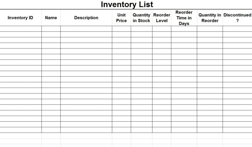 supply inventory list template