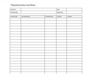 Inventory Sheet Sample Free