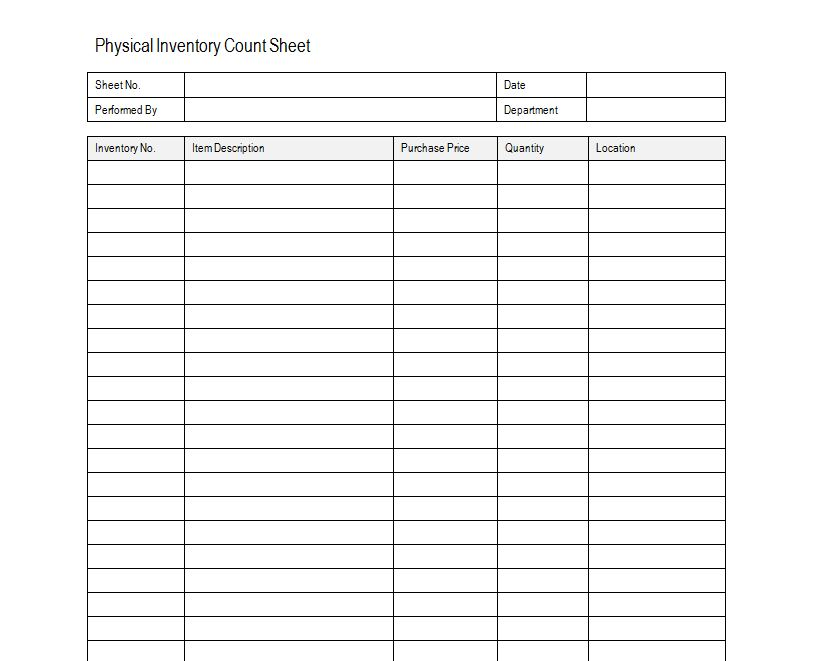Inventory Sheet Sample – Inventory List