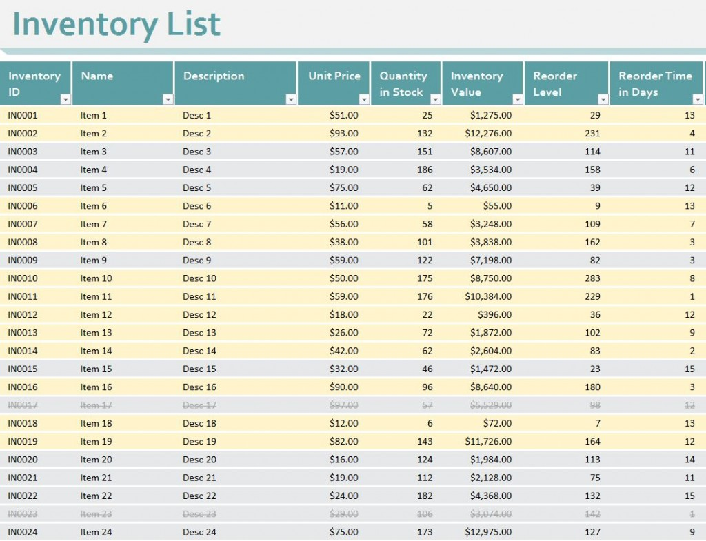 Inventory Sheet Template Excel Free