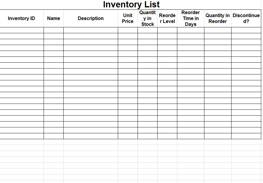 photo inventory log sheet images