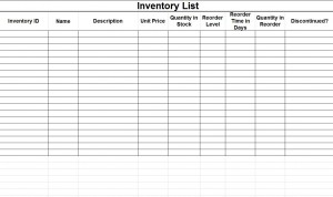 Inventory Template Free