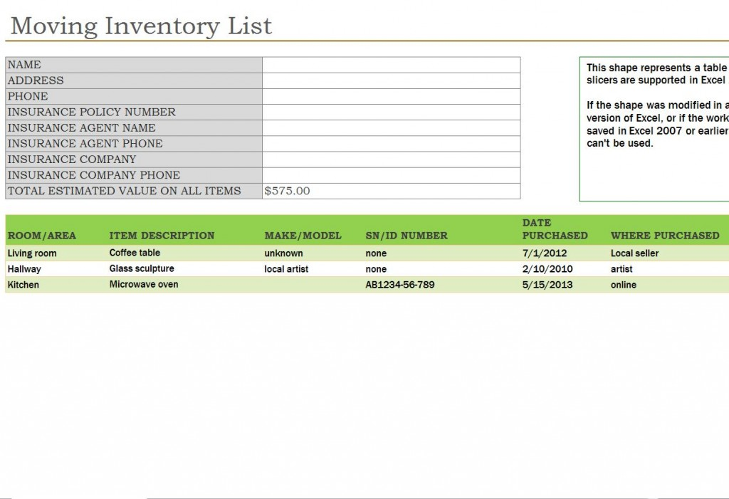 Moving Inventory List | Moving Inventory List Template