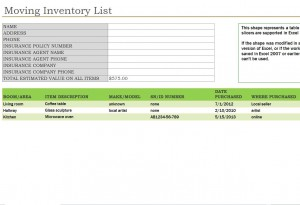 Moving Inventory List Free