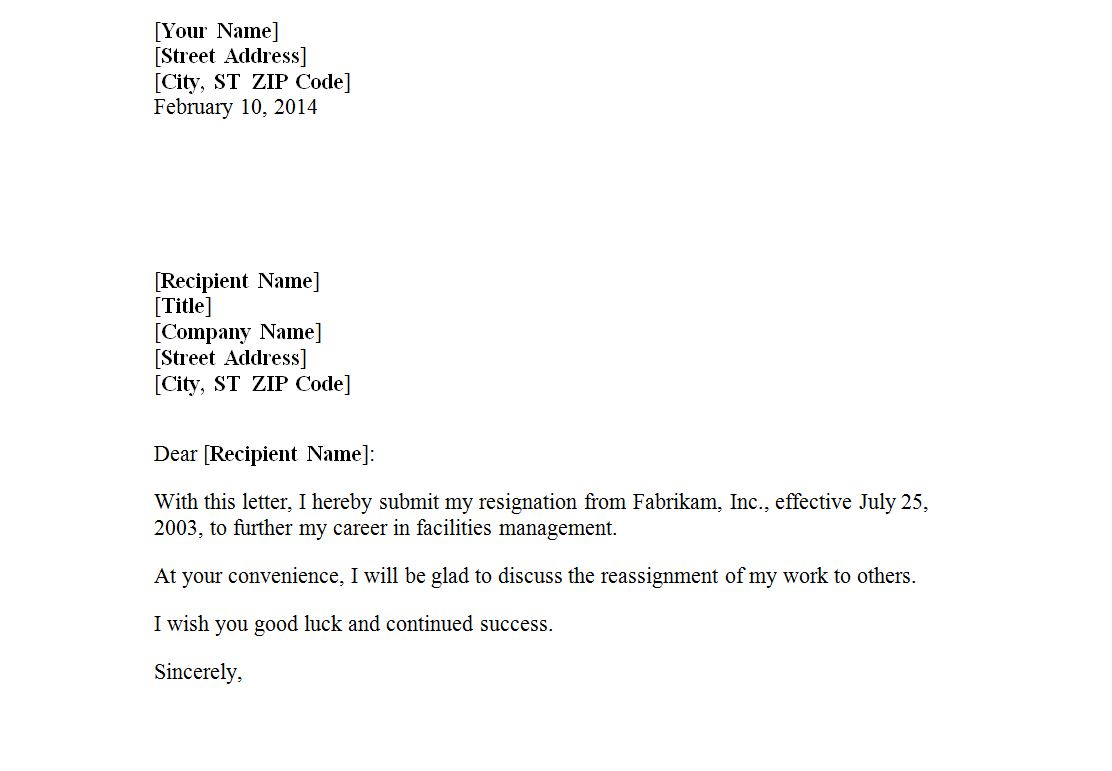 Company Format Of Resignation Letter from exceltemplates.net