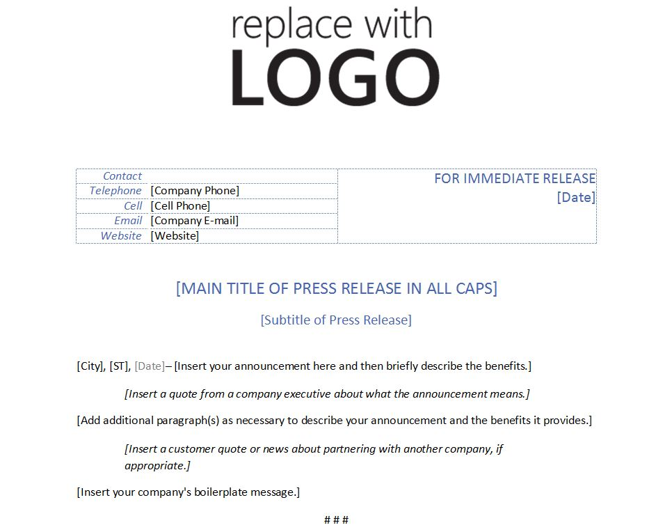 Free Template for Press Release