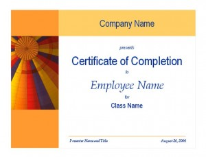 Free Training Completion Certificate