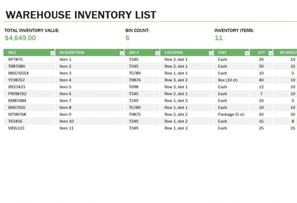 Warehouse Inventory Template Free