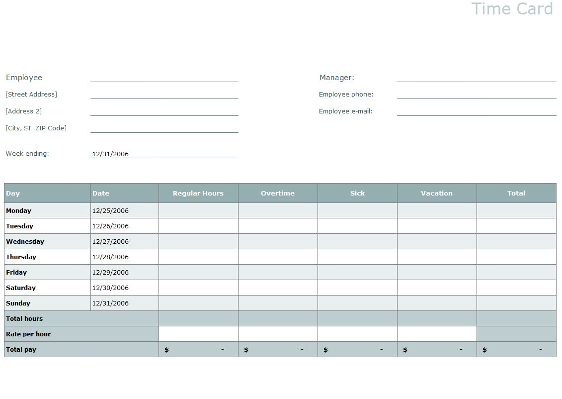 Time Card Template  Excel Time Card Template Intended For Weekly Time Card Template Free