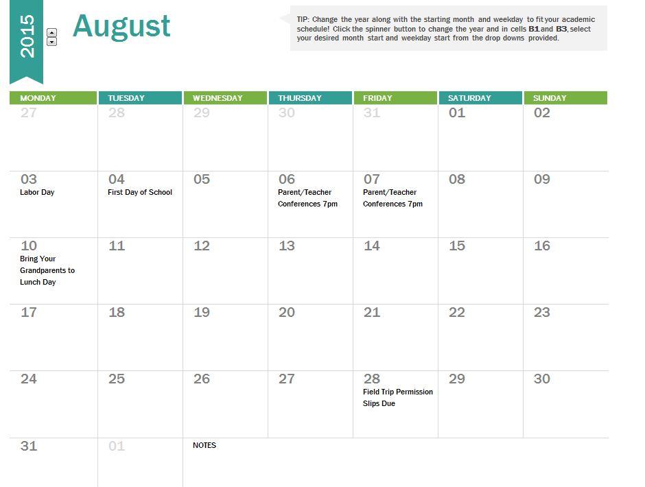 Calendar Dates 2015 2015 School Calendar