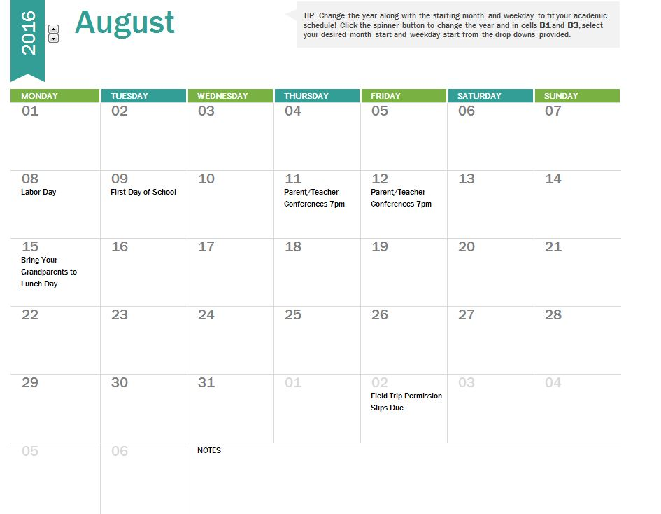 monthly academic calendar