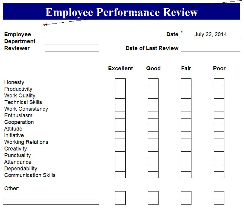 Annual performance review form template for Yearly employee review template