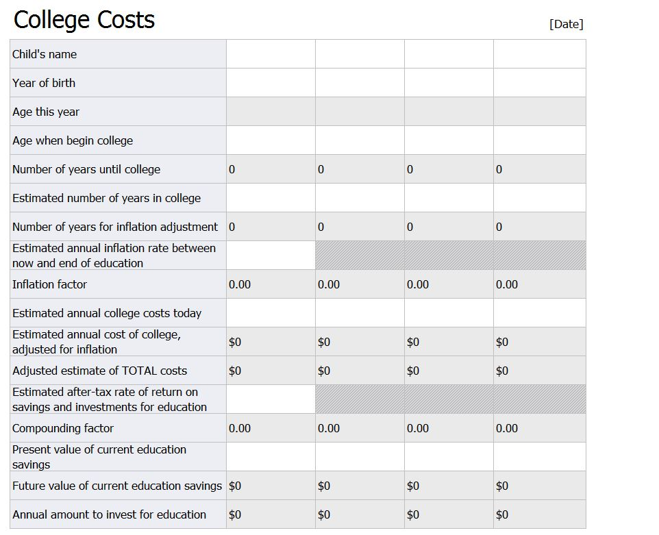 Free College Costs Calculator