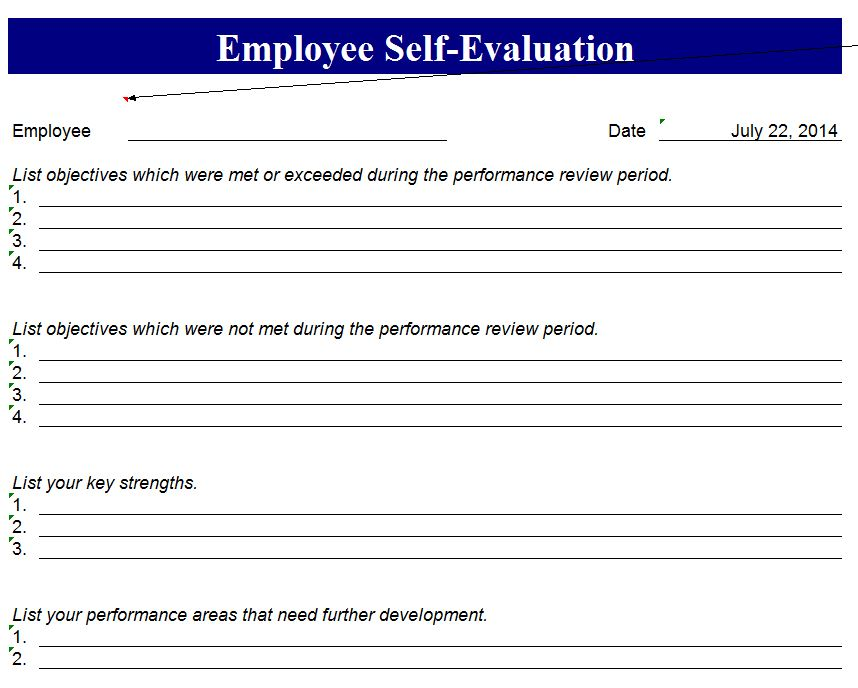 Employee Self Evaluation Form  Employee Self Evaluation