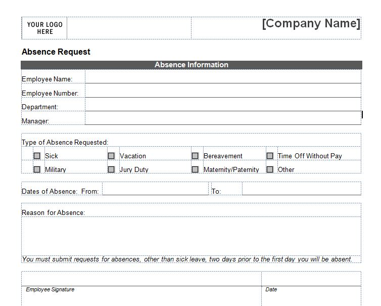 Merveilleux Vacation Request Forms Samples