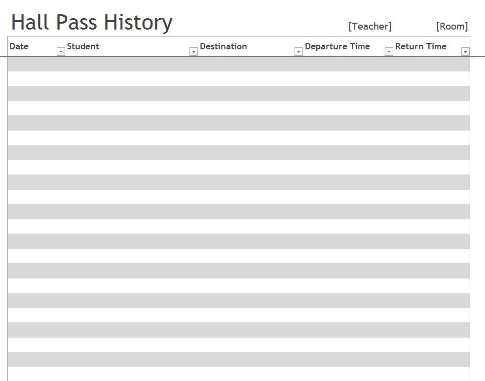 Hall Pass Template | Hall Pass Log Template
