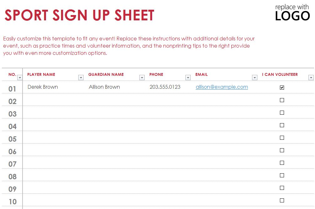 Sports Sign Up Sheet Template