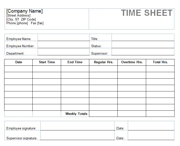 Timesheets For Employees | Timesheet For Employee