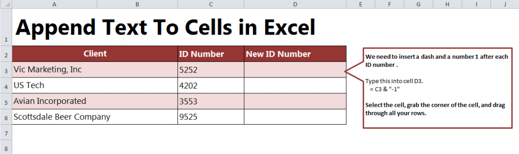Appending Text to Cells in Excel