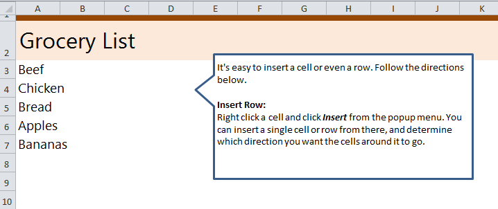 Insert a Row in Excel