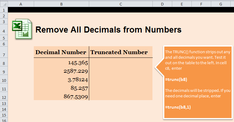 Remove All Decimals in Excel