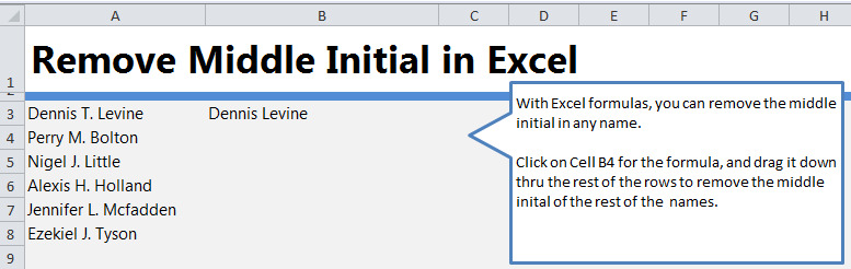 Remove Middle Initial in Excel