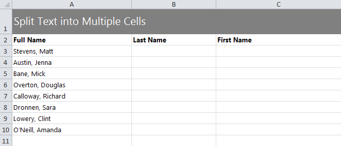 Split Text into Different Cells