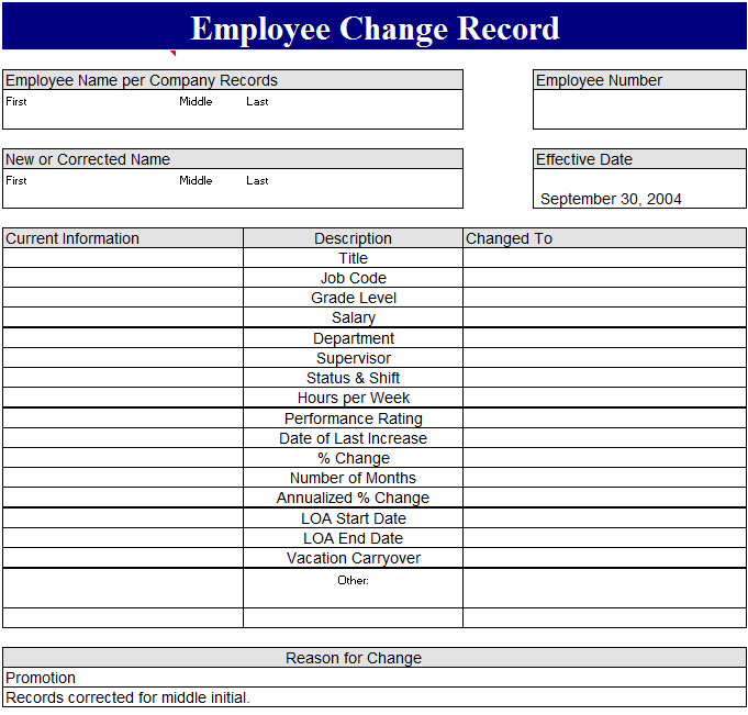 employee record sheet