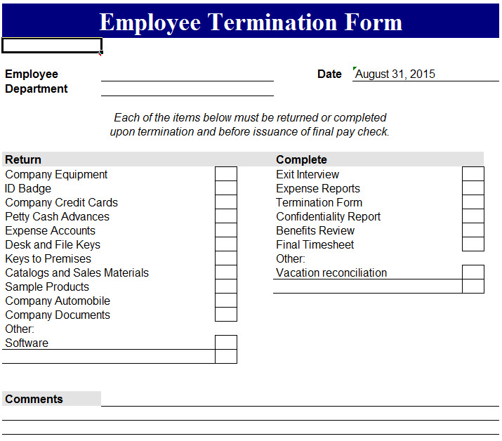 Excel Templates  Employee Termination Letter