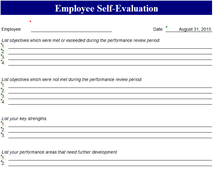 Performance SelfEvaluation Template