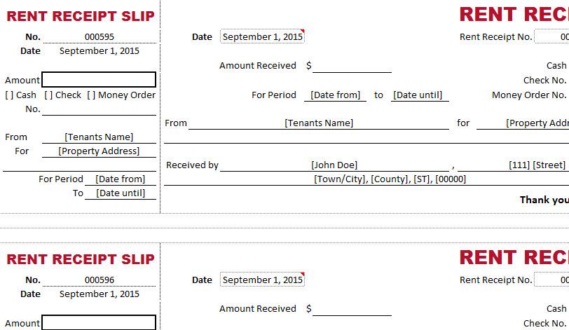 tenant rent receipt template