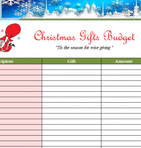 Simple Holiday Family Budget