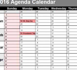 2016 Agendar Calendar