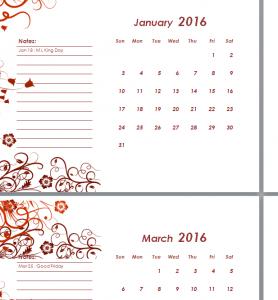 2016 Calendar Sheet